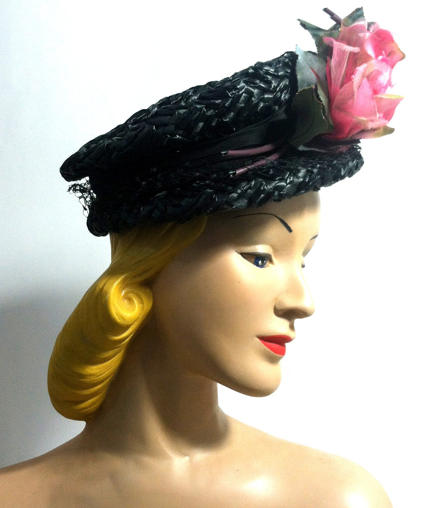 Garden Party Black Cello Pouf Top Hat w/ Big Pink Rose circa 1960s Dorothea's Closet Vintage Hat