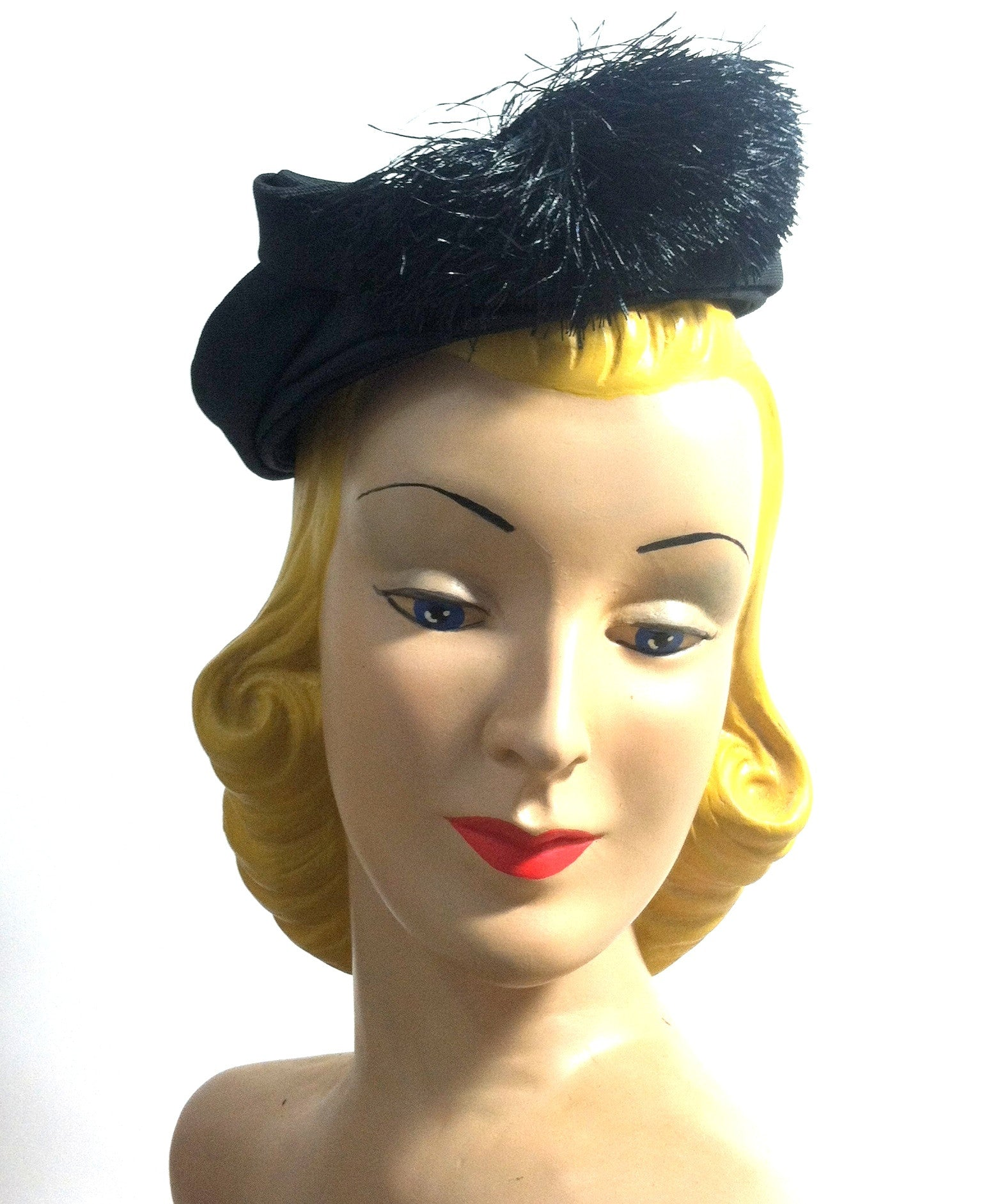 Black Whirled Mini Pillbox Hat with Fringed Accent circa 1960s Nina Neal Dorothea's Closet Vintage Hat