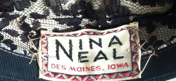 Black Whirled Mini Pillbox Hat with Fringed Accent circa 1960s Nina Neal
