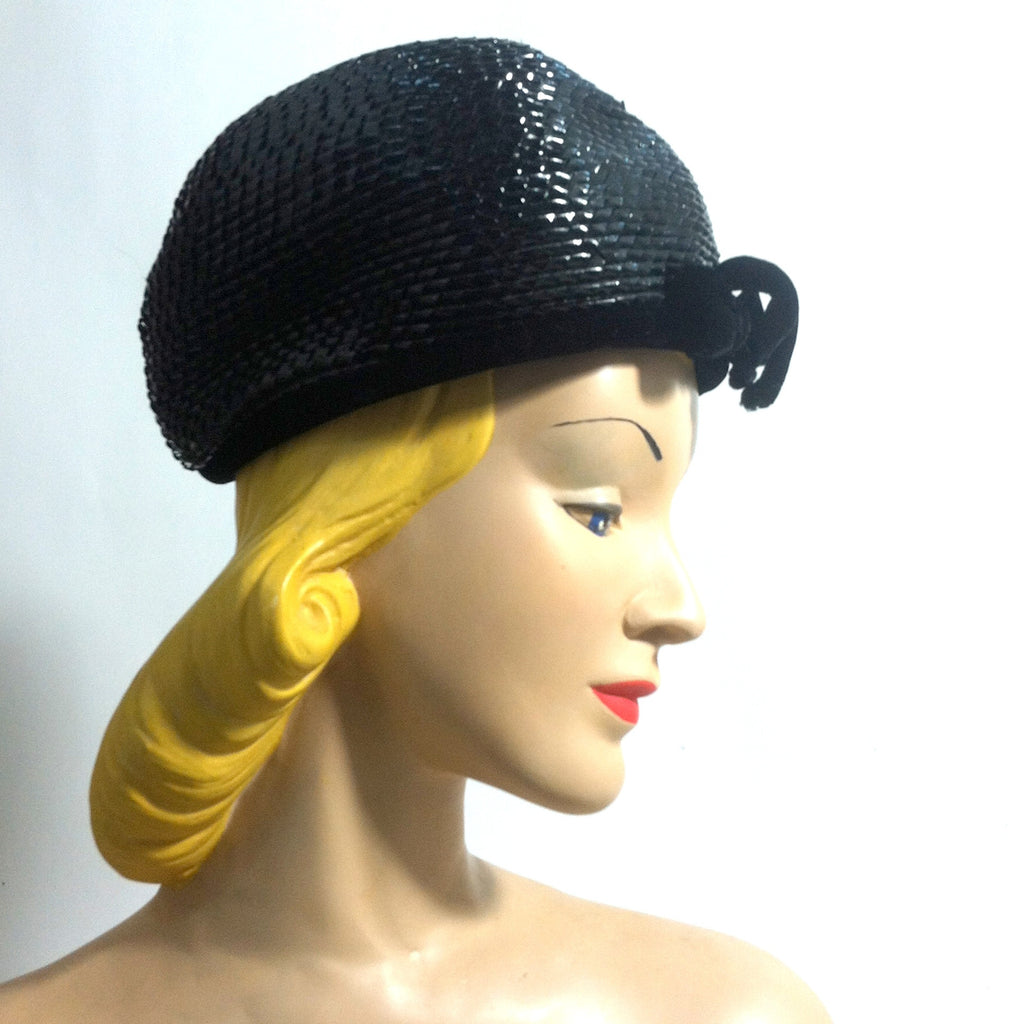 $20 sale Mod Black Glossy Cello Bubble Hat circa 1960s