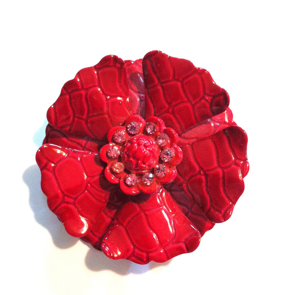 Magenta Crocodile Textured Flower Brooch with Rhinestones circa 1960s
