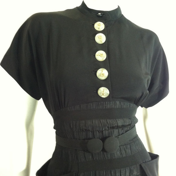 Surrealist Question Mark Button Trimmed Cocktail Dress circa 1940s