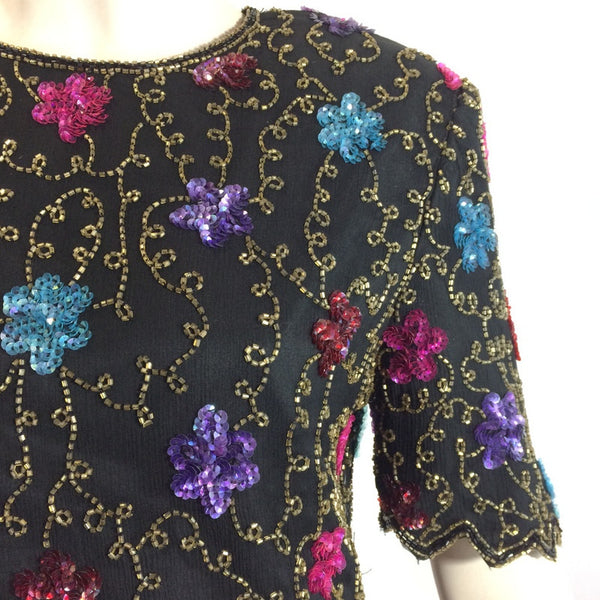 Brilliant Jeweltone Colored Sequined and Beaded Blouse circa 1980s