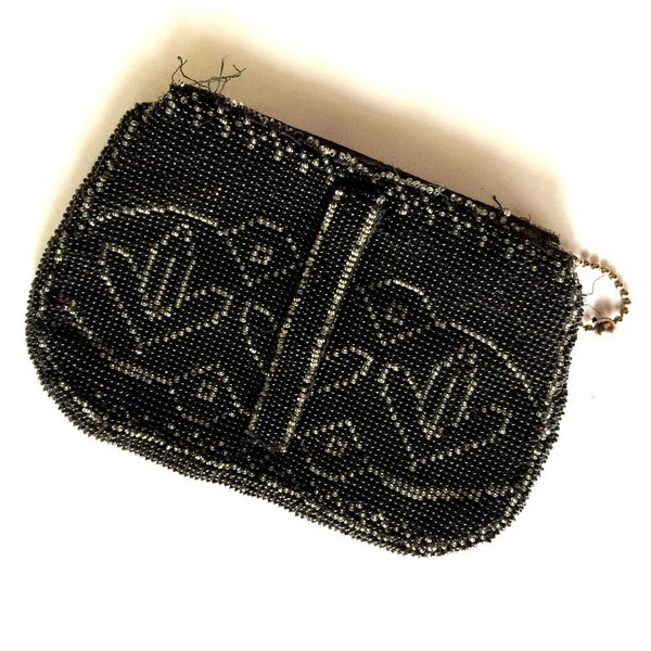 Black Beaded Egyptian Revival Evening Bag circa 1930s