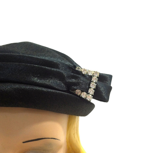 Rhinestone Buckle Trimmed Black Pillbox Hat circa 1960s