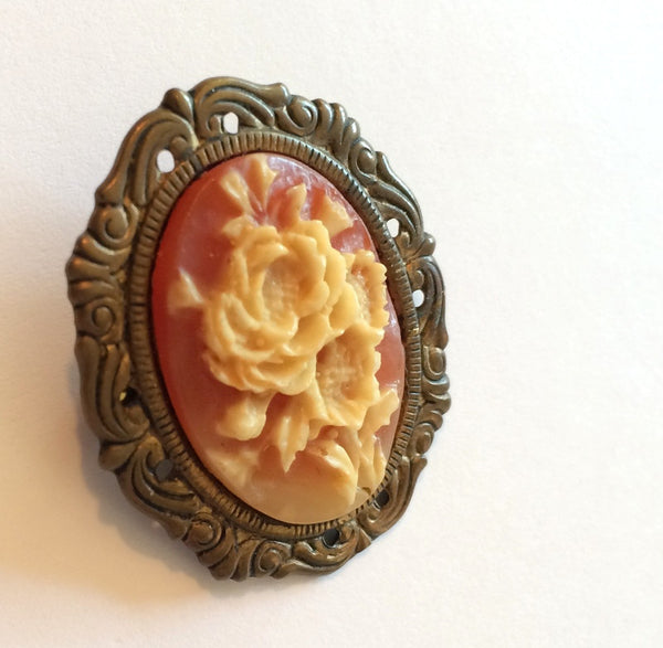Rose is a Rose Faux Cameo Brooch circa 1950s