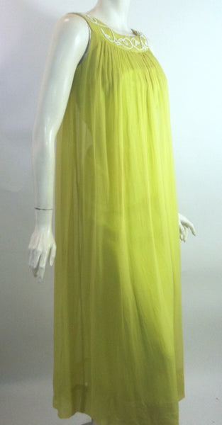 Green Goddess Chartreuse Grecian Inspired Chiffon 1960s Gown