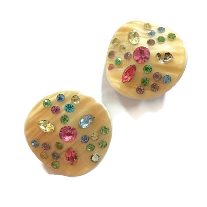 Pastel Rhinestone Studded Etched Thermoset Plastic Clip Earrings circa 1950s