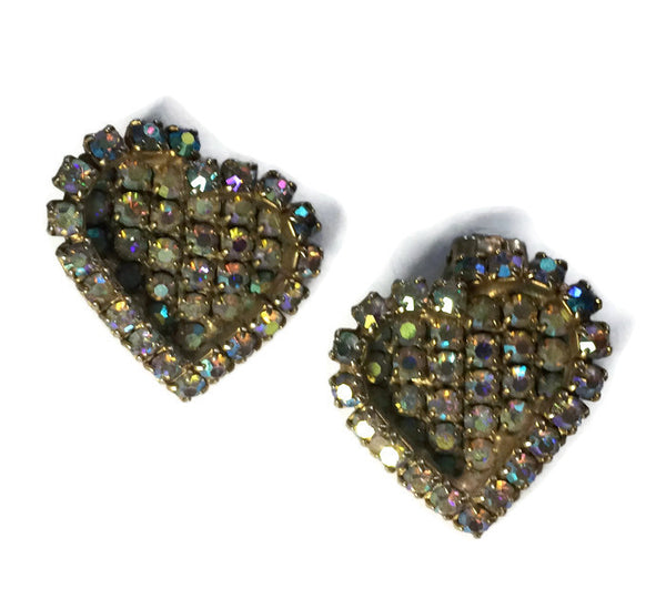 Two Hearts Iridescent Rhinestone Clip Earrings circa 1960s