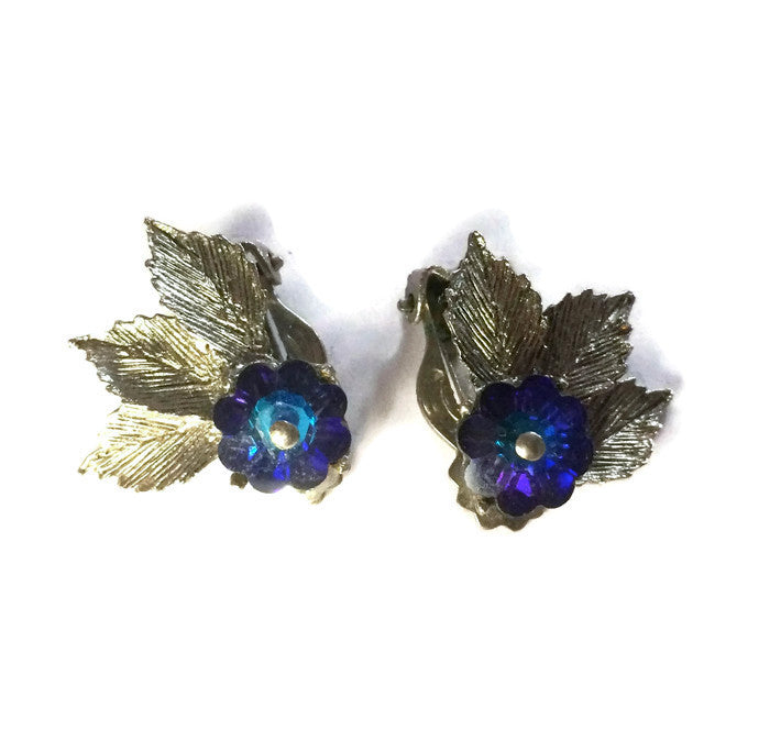 Lovely Blue Flower and Rhinestone Clip Earrings circa 1960s
