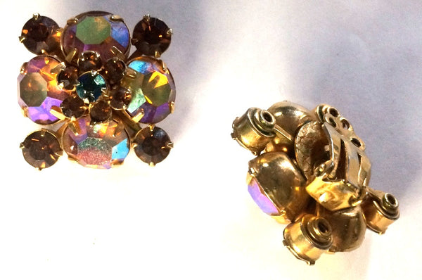 Topaz and Amber Iridescent Rhinestone Clip Earrings circa 1960s
