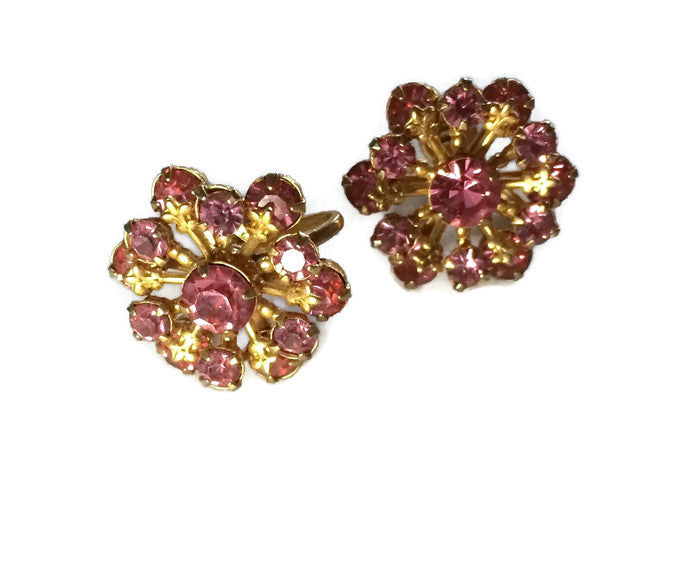 Dainty Pink Rhinestone Cluster Clip Earrings circa 1960s