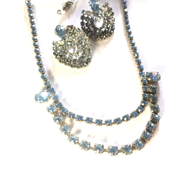 Sparkling Blue Rhinestone Necklace and Swagged Earrings circa 1950s