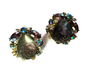 Frosted Blue Carved Rose and Rhinestone Clip Earrings circa 1960s