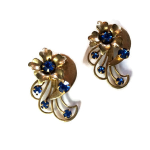 Whimsical Flower Gold Tone Metal Pair of Scatter Pins with Blue Rhinestones circa 1940s