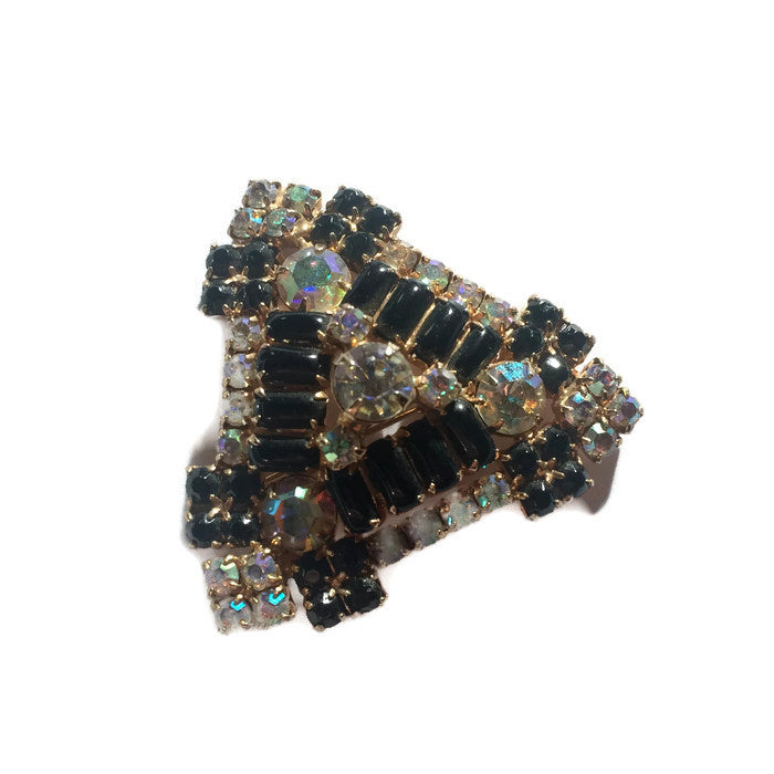 Glitzy Black and Clear Rhinestone Triangle Brooch circa 1960s