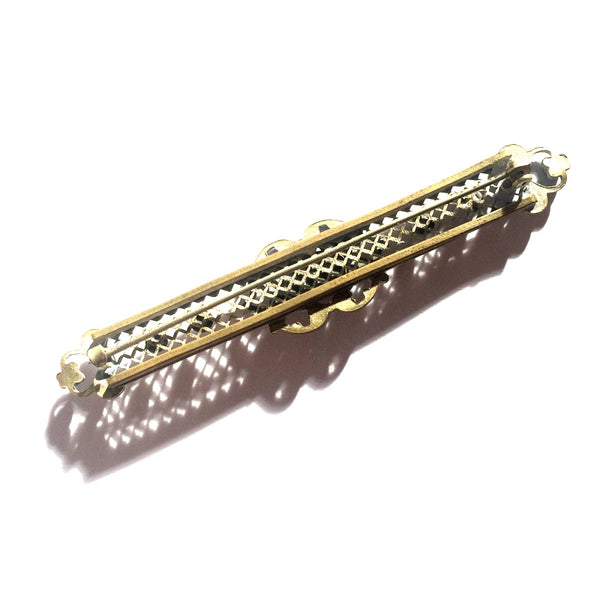 Filigree Gold Tone Metal Bar Sash Pin w/ Mottled Colored Cabochons circa 1910s