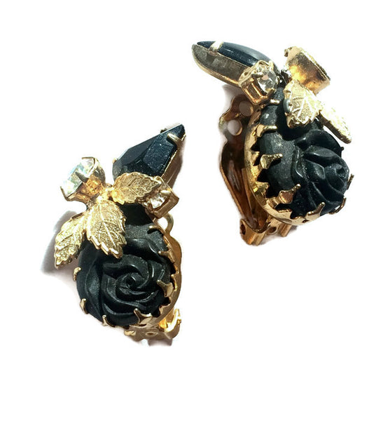 Gothic Glamour Black Rose and Rhinestone Clip Earrings circa 1960s