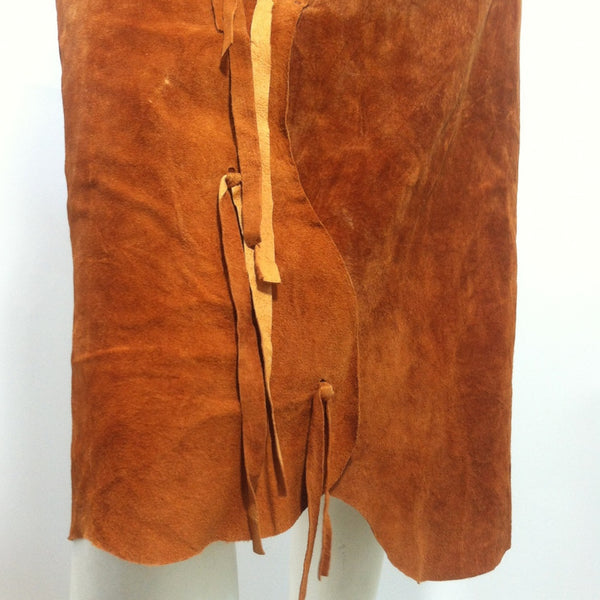 SALE Cinnamon Suede Pelt-Look String Tie Trimmed Skirt circa 1980s