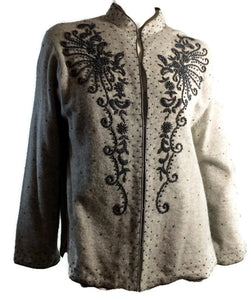 Heathered Grey Pewter Beaded Cardigan Sweater Hong Kong circa 1960s XL