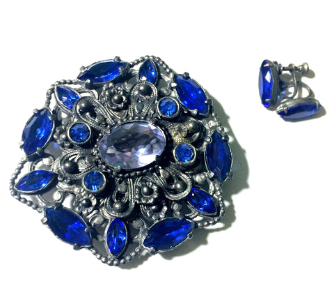 Exquisite Blue Czech Glass and Rhinestone Dress Clip and Earrings circa 1930s