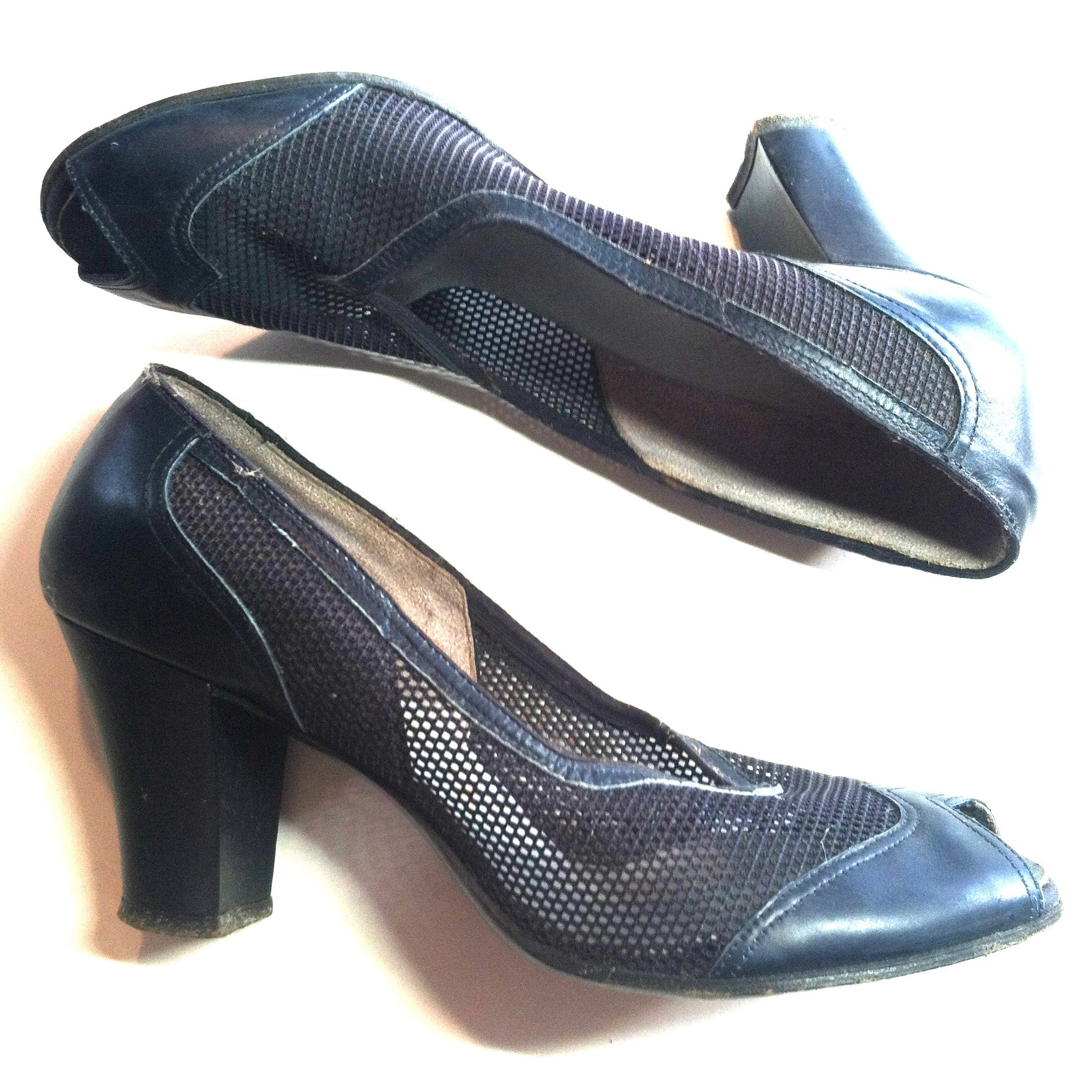 Dark Blue Open Toe Mesh Spectator Inspired High Heel Shoes 6 circa 1940s Dorothea's Closet Vintage Shoes