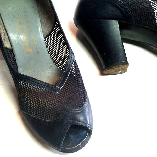 Dark Blue Open Toe Mesh Spectator Inspired High Heel Shoes 6 circa 1940s