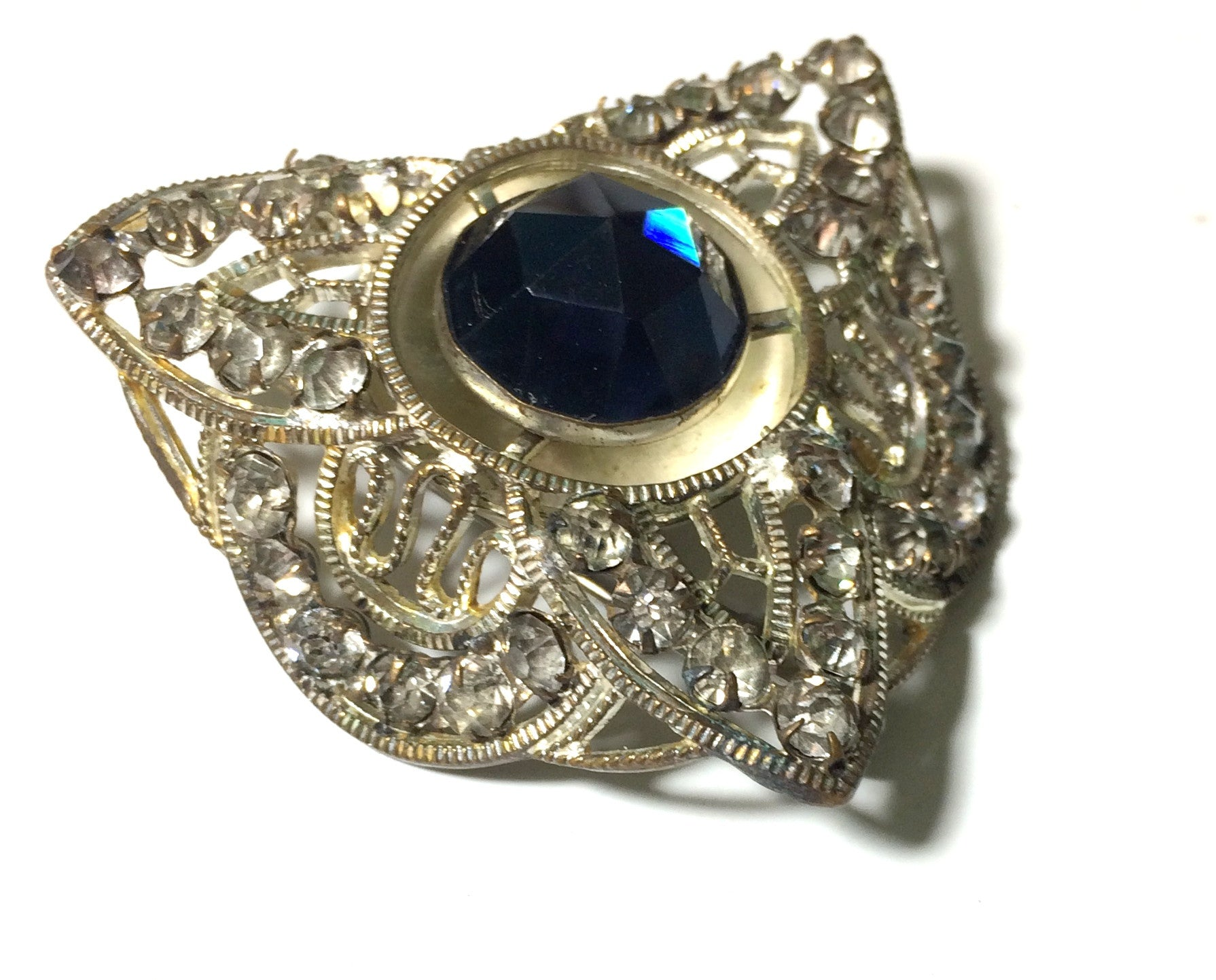 Striking Silver Tone Filigree Metal Brooch w/ Blue Glass circa 1930s