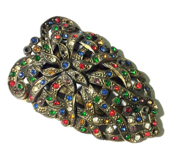 Rainbow Glass Dotted Oblong Dress Clip circa 1930s
