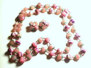 Swirled Pink Sugar Coated Double Strand Beaded Necklace and Clip Earrings circa 1960s
