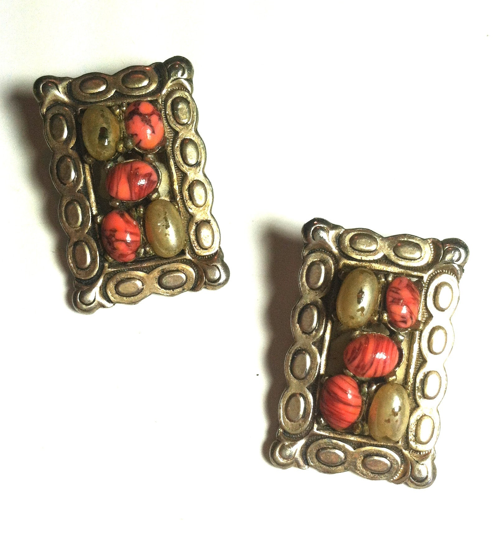 Mexican Silver Style Clip Earrings w/ Tangerine Beads circa 1950s