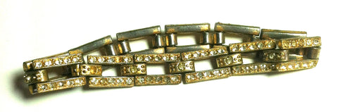 Deco Wide Link Goldplated Rhinestone Bracelet circa 1930s