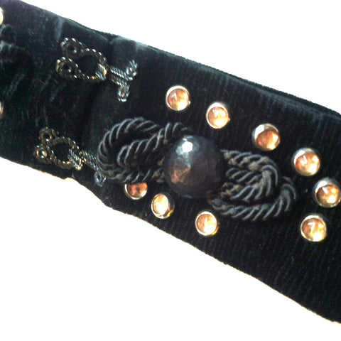 Ebony Black Velvet Studded Hook Front Belt circa 1940s