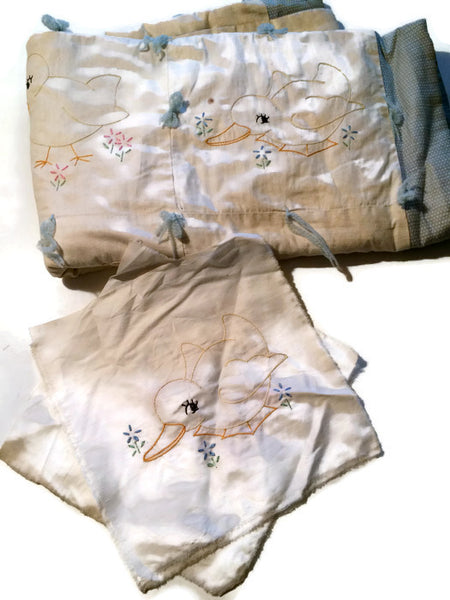 Ducky Embroidered Baby Crib Quilt circa 1920s