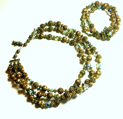 SALE Coppery Rosette Bead and Aurora Borealis Crystal Necklace and Bracelet Set circa 1960s