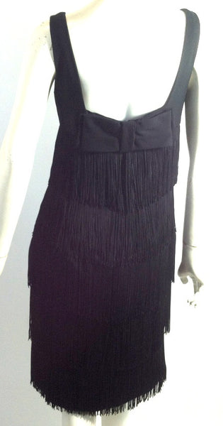Shimmy Fringed Black Cocktail Dress circa 1960s