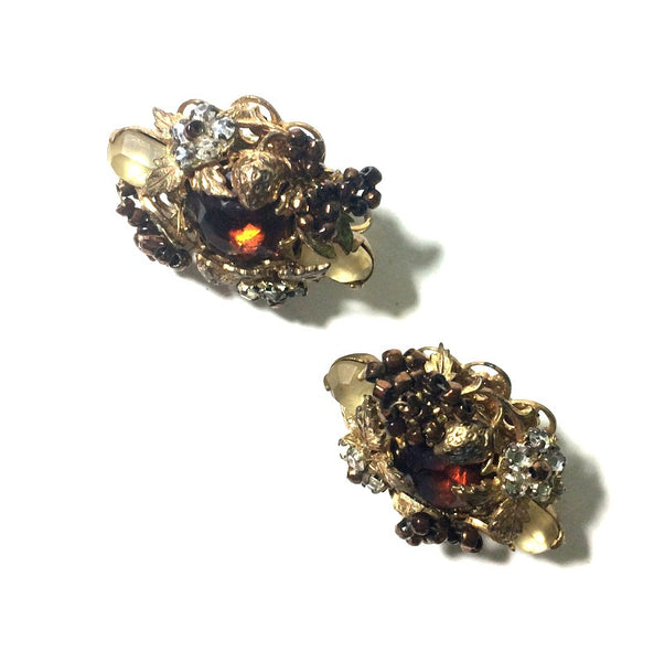 Strawberries and Beads and Rhinestones! Clip Earrings circa 1960s