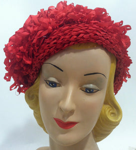 Lipstick Red Loop Ribbon Slouch Beret circa 1960s Dorothea's Closet Vintage Hat