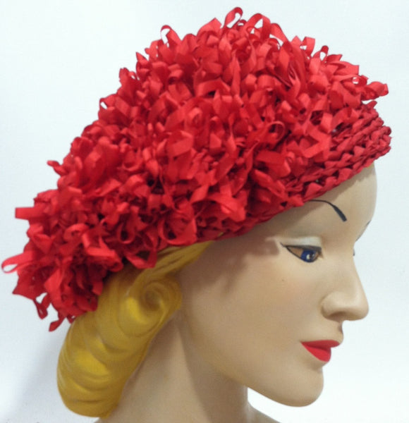 Lipstick Red Loop Ribbon Slouch Beret circa 1960s