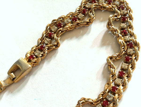 Garnet Red Rhinestone and Chain Bracelet circa 1960s
