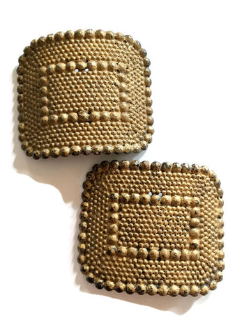 Hammered Metal Goldtone Shoe Accents circa 1910s