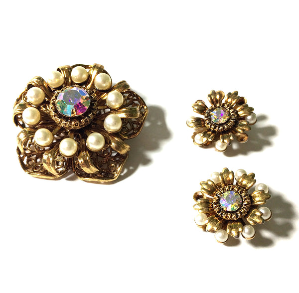 Pop Art Flower Brooch and Earrings w/ Faux Pearls and Aurora Borealis Rhinestones circa 1960s