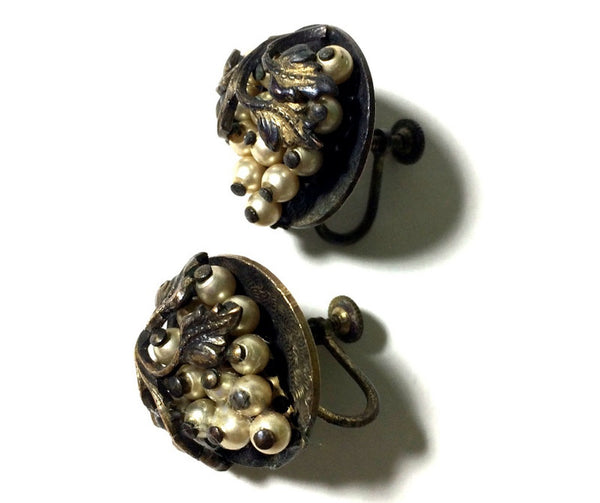 Metal Beaded Grape Cluster Disc Clip Earrings circa 1940s