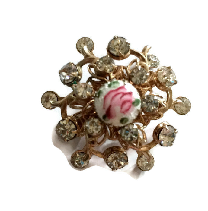 Rose Topped Painted Enamel Domed Rhinestone Brooch circa 1960s