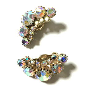 Aurora Borealis Curved Rhinestone Earrings circa 1960s