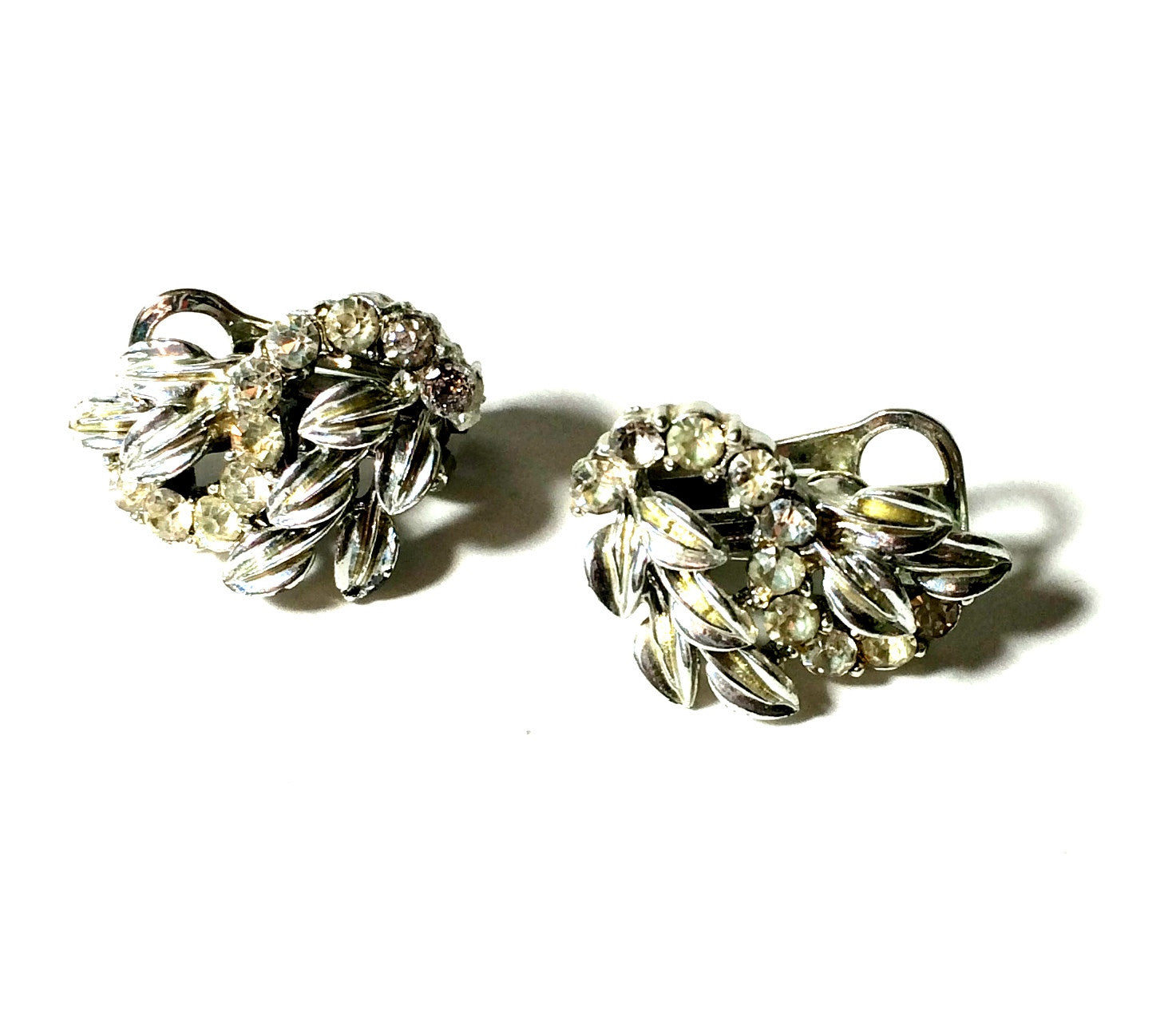 Leaves and Rhinestones Glamorous Clip Earrings circa 1950s