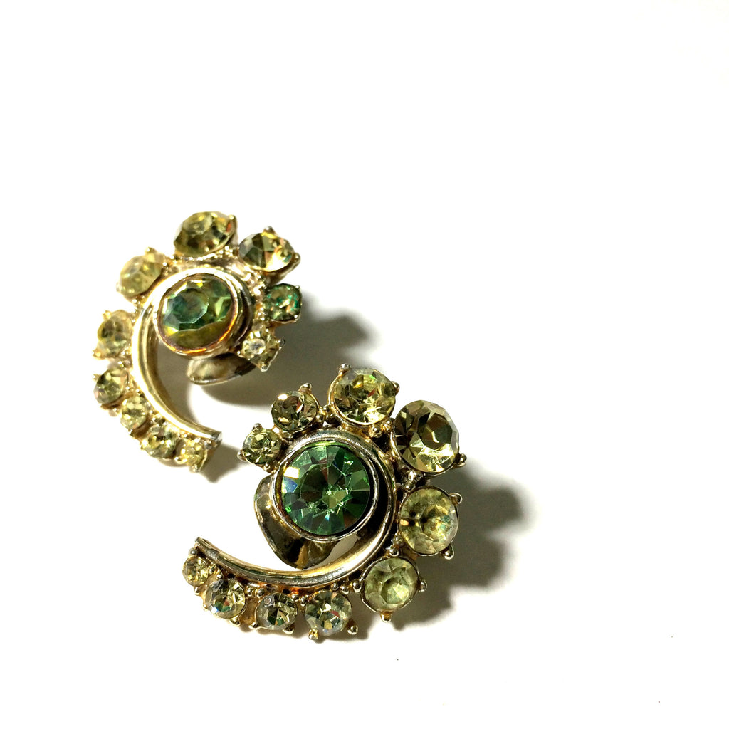 Citrine Green Rhinestone Spiral Clip Earrings circa 1960s