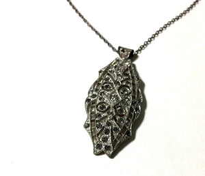 Marcasite and Rhinestones Pendant Necklace circa 1930s