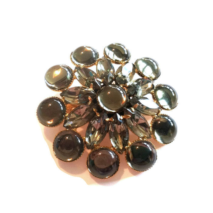 Misty Grey Glass Cabochon Statement Brooch circa 1960s