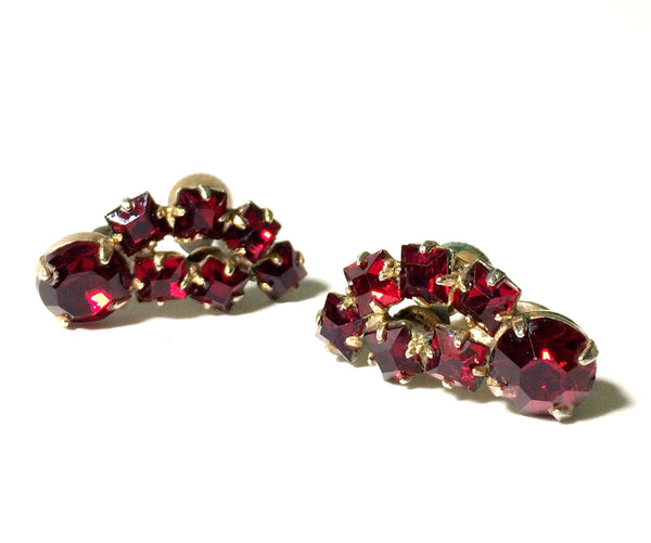 Fetching Vivid Red Rhinestone Cluster Earrings circa 1950s